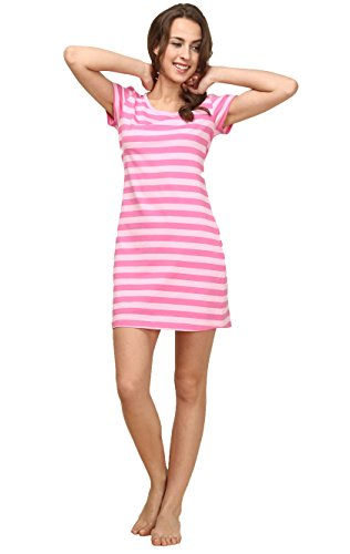 QIANXIU Women's Nightgown Modal 100% Cotton Knit Sleep skirt Short Sleeve Stripe Shirt Special offer Nightshirt, Pink. Large]()