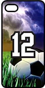 Soccer Sports Fan Player Number 12 Black Plastic Decorative iPhone 5/5s Case by runtopwell
