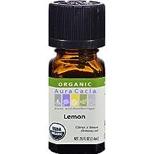 Aura Cacia Organic Lemon .25 fl oz (7.4 ml) Liquid