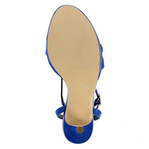 Evita Shoes Valeria Sandales Femme 2 Cuirs Bleu Foncé 3ViJT