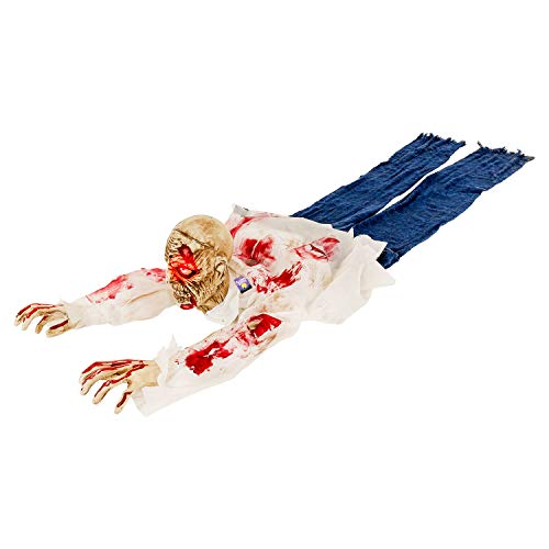 Halloween Haunters Animated Crawling Zombie Groundbreaker with Moving Body LED Eyes Prop Decoration - Scary Spooky Moans, Ghoul Face - Haunted House Graveyard Tombstone, Party Display