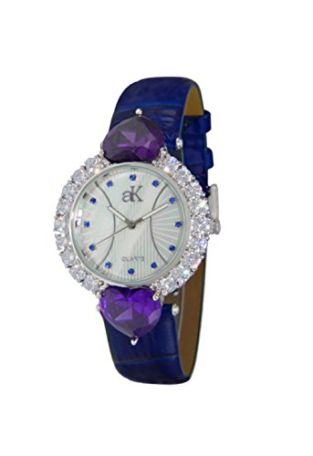 Adee Kaye Sweet Heart Mother of Pearl Dial Ladies Watch AK2424-L-BU