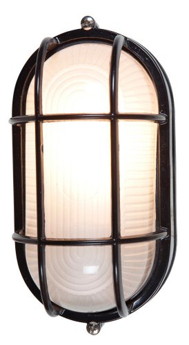 ion Bulkhead - Black Finish - Frosted Glass Shade ()