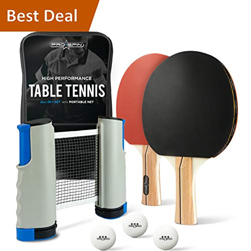 (PRO-SPIN Portable Ping Pong Set - Includes Ping-Pong Net for Any Table, 2 Paddles/Rackets, 3-Star Balls, Premium Storage Case | High-Performance Table Tennis Set with Retractable Ping Pong Net)