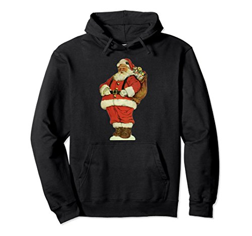 Unisex Vintage Christmas Illustration, Jolly Santa Claus Hoodie Small Black