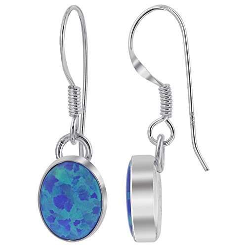 (925 Sterling Silver Created Blue Fire Opal Oval Drop Earrings 9 x 10mm with French Wire Hook)