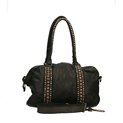 Chicca Borse Luxury Edition Shoulder Bag Vintage Borsa a Spalla da Donna in Vera Pelle 100% Genuine Leather 33x25x13 Cm Nero
