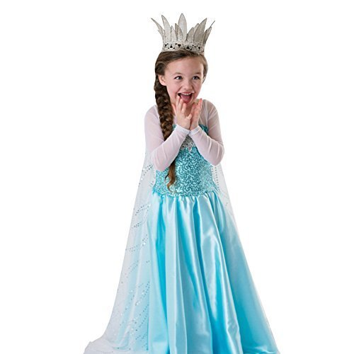 loel Inspired Snow Queen Girl Costume Dress -