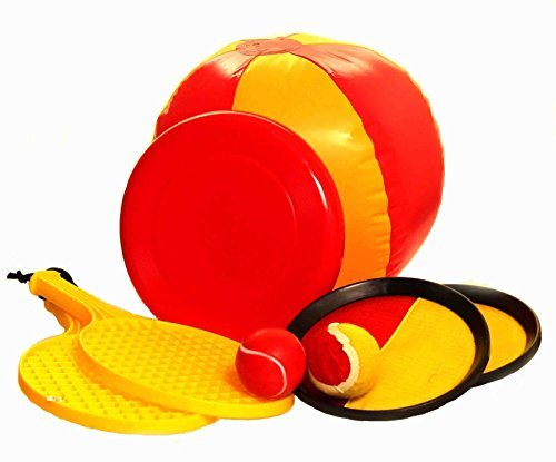 Summer Outdoor 4 in 1 Games Set - Beach ball, Frisbee, Sticky velco catch set, Tennis rackets, Small ball and Drawstring Back Pack by Retail ABC Ltd
