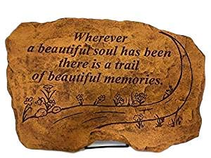 Kay Berry Wherever a Beautiful Soul has Been There is a Trail of Beautiful Memories; Memorial Stone Sympathy Gift; Sandstone 10×15; with Stand