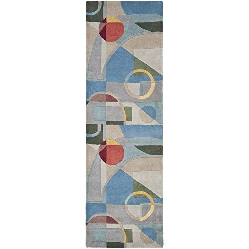 10' Rodeo Drive Collection (Safavieh Rodeo Drive Collection RD845B Handmade Modern Abstract Art Blue and Multi Wool Runner (2'6