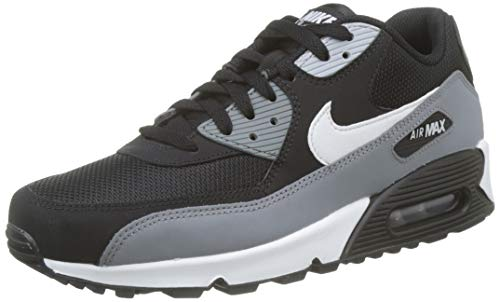 Leather Mesh White Grey - Nike Mens Air Max 90 Essential Leather Synthetic Black White Cool Grey Trainers 10.5 US