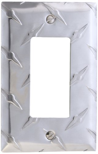 Rocker Switchplate Cover - Amerelle Diamond Plate Single Rocker Stamped Aluminum Wallplate