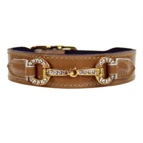 - Hartman & Rose Holiday Crystal Bit Dog Collar, 10 to 12-Inch, Caramel Patent