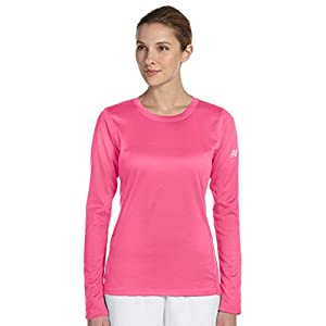 New Balance Ladies Tempo Long-Sleeve Performance T-Shirt, 2XL, SAFETY PINK