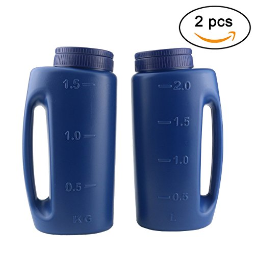 Ogrmar 2PCS Handheld Spreader Adjustable Hole Size Salt and Seed Spreader Fertilizer Seeds Calcium Chloride Insect Repellent Ice Melter De Icer (Blue) by Ogrmar