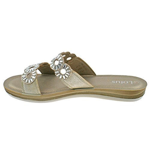6 UK Flat EU Shimmer Moretti Gold 40 Lotus Slip on Mule Sandals Ladies wqTZTfa