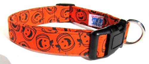 Adjustable Dog Collar in Orange Halloween Pumpkins (U.S.A. Made)