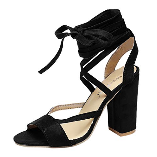 Women Shoes Respctful✿ High Block Heel Ankle Strap Sandal Cross Strappy Ankle Strap Classic Open Toe Shoes Black