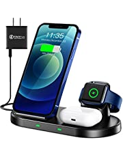 WAITIEE Wireless Charger 3 in 1 Stand for iPhone 12 and iWatch Series 6/5/4/3/2/1 AirPods pro, QI Charger 15W Fast Charging Dock Accessories iPhone 12/11/11 Pro/ 11 Pro Max/XS/XR/X/8/8 Plus/Samsung (Black)