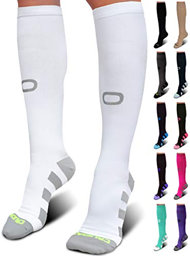 Crucial Compression Socks for Men & Women (20-30mmHg) - Best Graduated Stockings for Running, Athletic, Travel, Pregnancy, Maternity, Nurses, Medical, Shin Splints, Support, Circulation & Recovery (Best Compression Socks For Standing All Day)