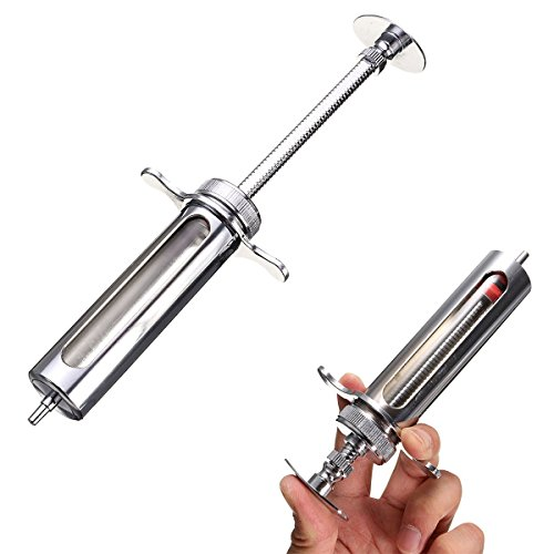 30ml Reusable Stainless Steel Hypodermic Veterinary Animal Syringe Glass for Lab