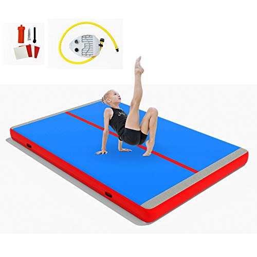 FurniTure Air Mats Air Track Mats Inflatable Mat Gymnastics with Foot Pump for Cheerleading, Gymnastics Training, Beach, Water, Home Use, 10 Ft