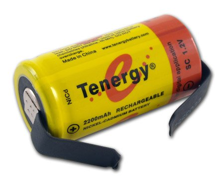 Tenergy SubC 2200mAh NiCd Flat Top Rechargeable Battery (w/Tabs)