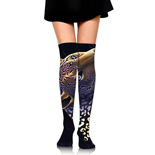 Leopard In Space Over The Knee Long Socks Tube Thigh-High Sock Stockings For Girls & Womens -