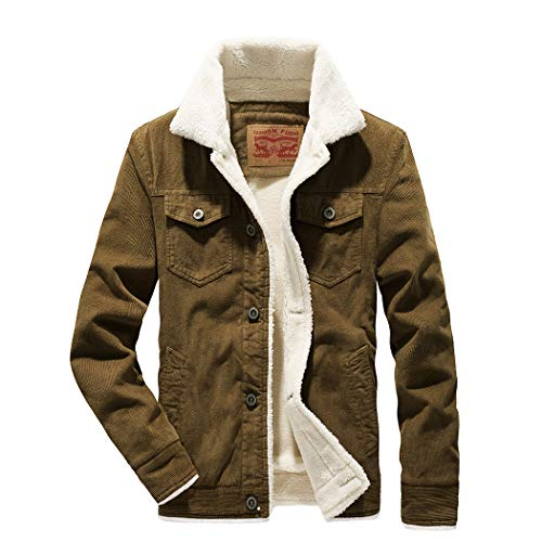 Snowman Lee Mens Corduroy Sherpa Jacket Slim Fit Button-Front Fleece Denim Trucker Jacket