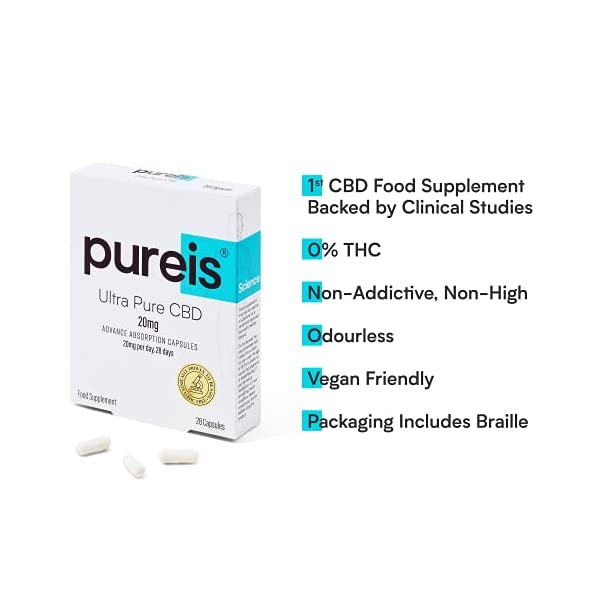 PUREIS Ultra Pure CBD Advanced Absorption Capsules, Odourless, 20mg per Day, 28 Days