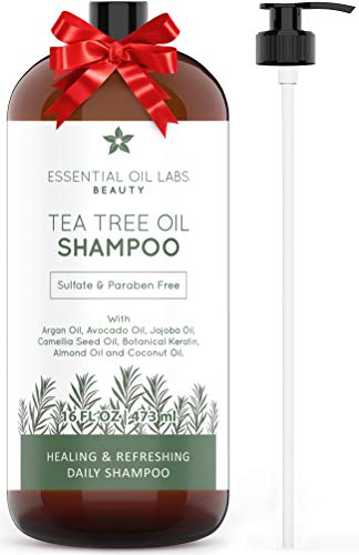 Tea Tree Shampoo, Made with Natural Ingredients - Sulfate and Paraban Free - 16 ounce by Essential Oil Labs