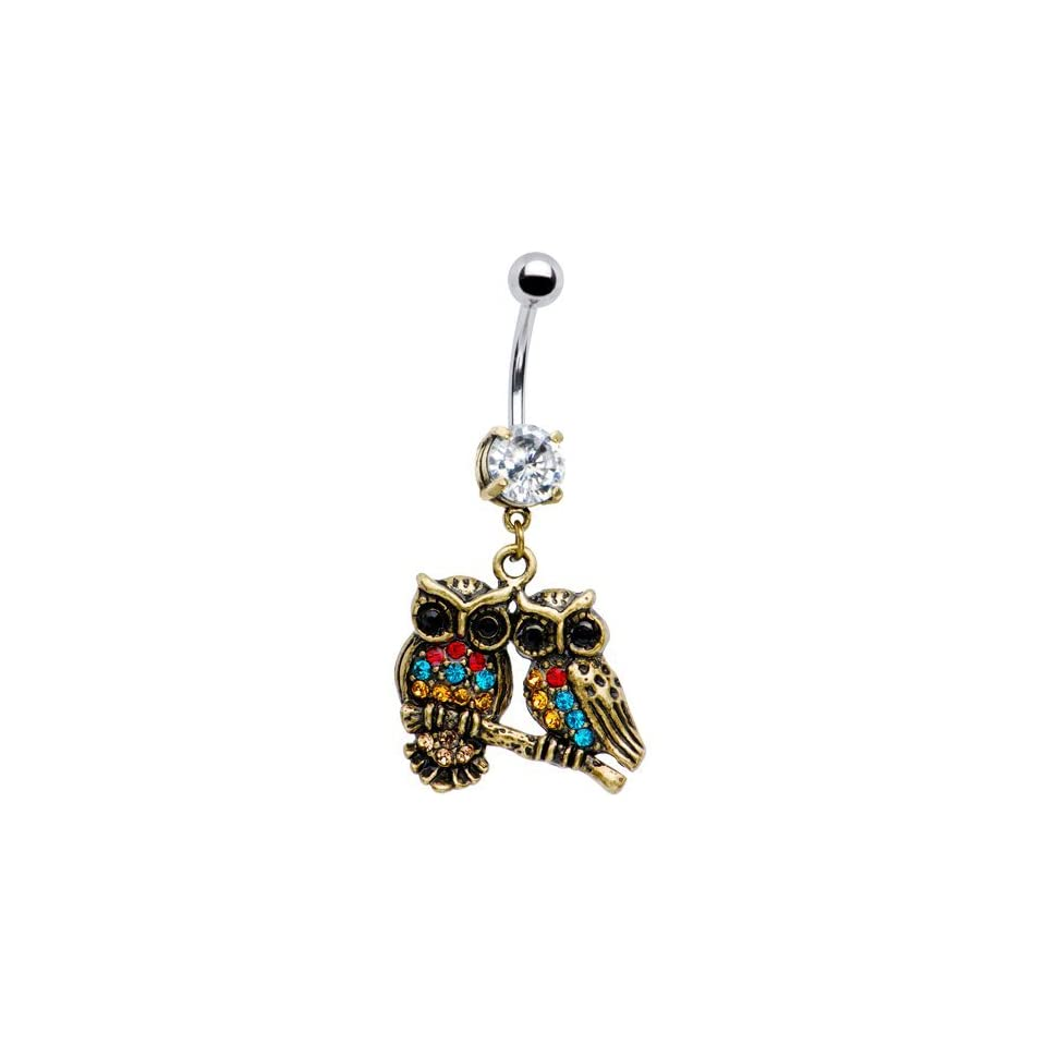 Antiqued Multi Gem Dual Owl Belly Ring