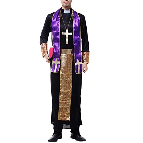 [LETSQK Friar Jesus Monk Missionary Priest Robe Tunic Cloak Party Halloween Costume Black2] (Priest Halloween Costume Deluxe)