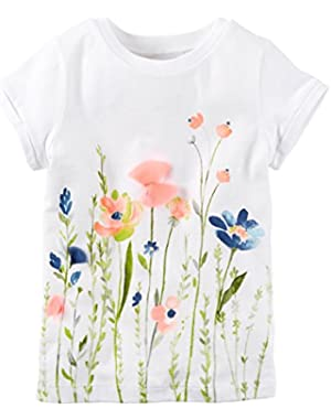 Girls Watercolor Tee, White, 3m
