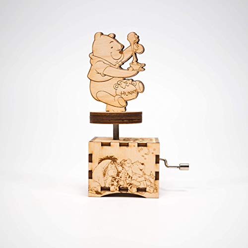 Winnie The Pooh Music Box - Intro Theme -Personalized engraved gift. Hand cranked mechanism.