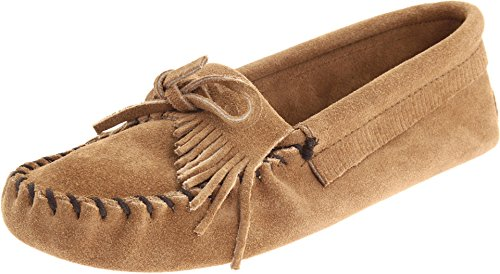 Minnetonka Women's Kilty Suede Softsole Moccasin,Taupe,7.5 M US
