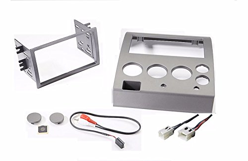 Radio Stereo Installation Kit  Fits Nissan Titan Install 2-Din Double Dash Kit + Wire Harness + Factory Match Gray/Silver