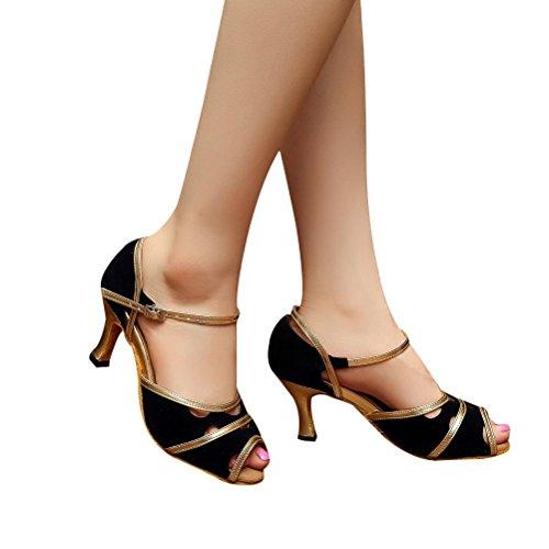 BCLN Womens Open toe Sandals Latin Salsa Tango Heels Practice Ballroom Dance Shoes with 2.75 Heel Black mJuIszEJbT