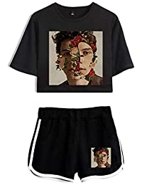 Silver Basic Girl's Short Sleeve Shawn Mendes 98 Top with Bottom Teen's T Shirt Pants Sets
