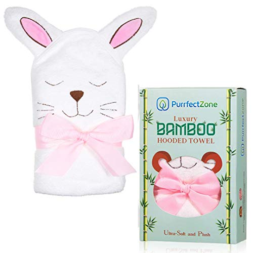 - PurrfectZone Large Ultra Soft Organic Bamboo Hooded Towels for Kids and Toddlers (Bunny, Pink)