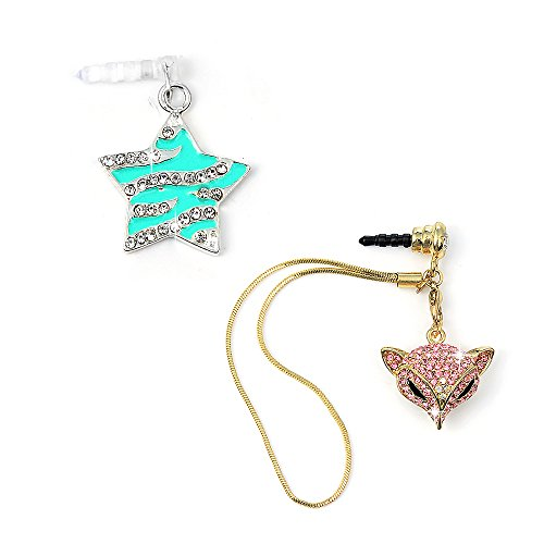 Mavis's Diary 2 Pcs Cute Bling Dust Plugs/Cell Charms/Ear Jack for Iphone 6 Series,Samsung Galaxy S6 Series,Note 5 and Other 3.5mm Earphone Jack Downward - Rose Red Fox Tassel&Blue (Star Cell Phone Charm)