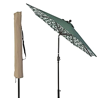 SUNLONO 9FT Patio Umbrella Outdoor Table Umbrella with 8 Sturdy Ribs and Inside Flower Pattern (Dark Green) - 【Durable & Sturdy Construction】8 aluminum ribs are both powder-coated against rust, corrosion, chipping and peeling for long-term use. 【Convenient Crank & Tilt System】Operates with crank lifting system for your easy and quick use, with push-button tilt to keep the sun at your back all the time 【95% UV Protection】The patio umbrella is made of 100% polyester fabric,long-Lasting,fade resistant,easy to clean. Outdoor market umbrella provide 95% UV protection,you could enjoy a cooler environment - shades-parasols, patio-furniture, patio - 41SN15nN oL. SS400  -