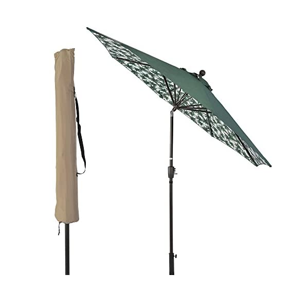 SUNLONO 9FT Patio Umbrella Outdoor Table Umbrella with 8 Sturdy Ribs and Inside Flower Pattern (Dark Green) - 【Durable & Sturdy Construction】8 aluminum ribs are both powder-coated against rust, corrosion, chipping and peeling for long-term use. 【Convenient Crank & Tilt System】Operates with crank lifting system for your easy and quick use, with push-button tilt to keep the sun at your back all the time 【95% UV Protection】The patio umbrella is made of 100% polyester fabric,long-Lasting,fade resistant,easy to clean. Outdoor market umbrella provide 95% UV protection,you could enjoy a cooler environment - shades-parasols, patio-furniture, patio - 41SN15nN oL. SS570  -