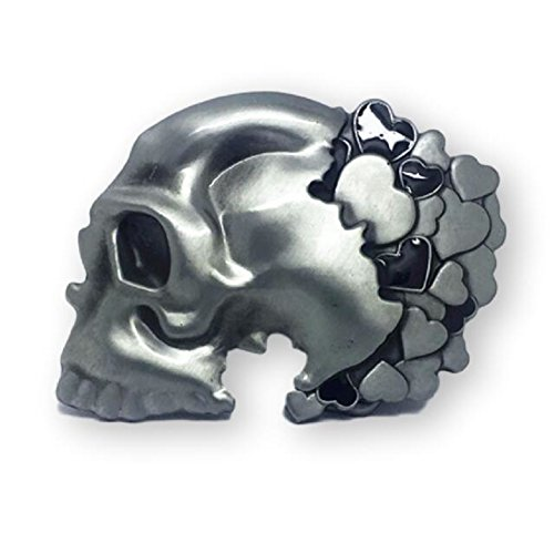 Skull Hearts Belt Buckle Silver Black ()