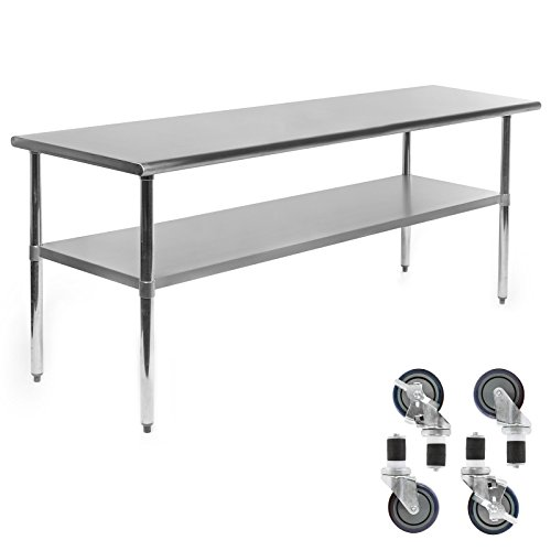 Gridmann NSF Stainless Steel Commercial Kitchen Prep & Work Table w/ 4 Casters (Wheels) - 72 in. x 24 in. by Gridmann (Image #1)