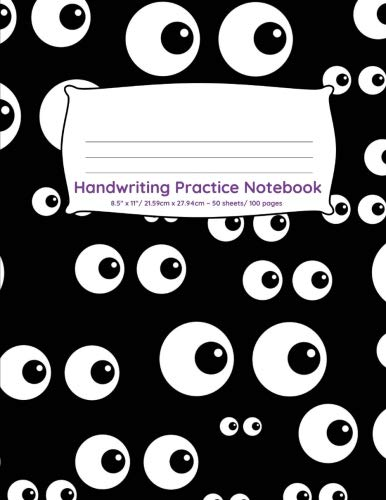 Handwriting Practice Notebook: 100 pages of handwriting practice for back to school Googly eyes Halloween design (Handwriting Practice Notebooks for Kindergarten First Grade Second -