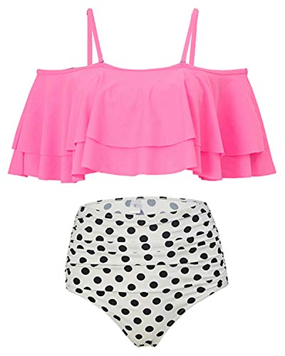 Holipick Women Two Piece Ruffled Flounce Off Shoulder Tankini Top With Polka Dot Bottoms Swimsuits Set Pink L by Holipick (Image #2)