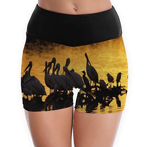 Custom A4 Adult Cooling - Compression Shorts Pelicans Sunset Birds Lake High Waist Yoga Shorts Ultra Running Shorts