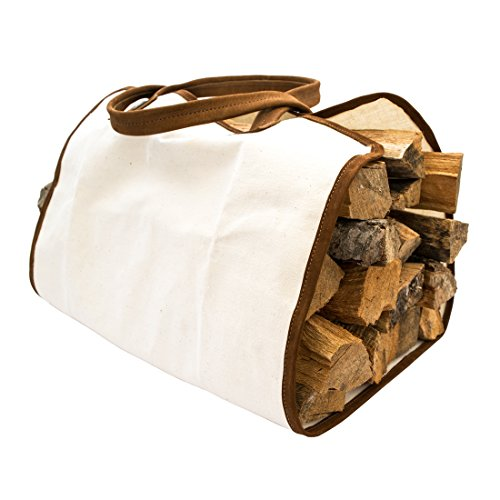 (Hide & Drink Durable Canvas Firewood Bag with Leather Liner Handmade Swayze Suede)